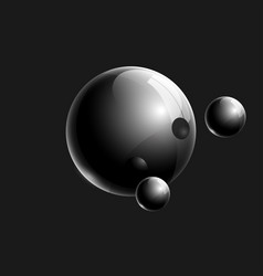 black 3d realistic glass balls composition for vector image