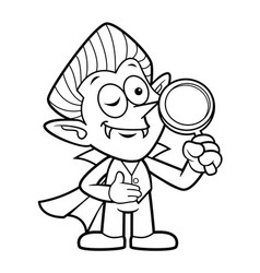 Black and white dracula mascot is holding the vector