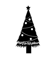 black icon christmas tree cartoon vector image