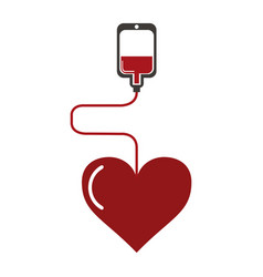 Blood bag with heart vector