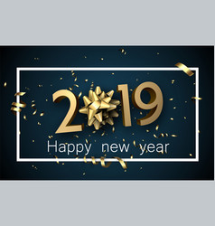 blue 2019 happy new year card with golden bow and vector image
