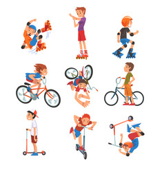 Boys and girls riding kick scooter set bicycle vector