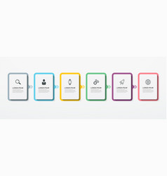 Business infographic rectangular elements with 6 vector