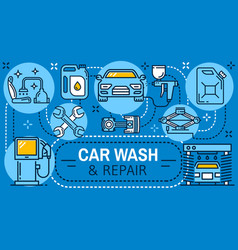 car wash service and auto repair mechanic garage vector image