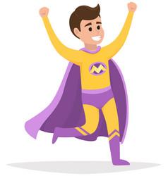 Cartoon superhero smiles and hurries to save world vector