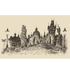 Charles Bridge Prague Czech Republic vintage vector image