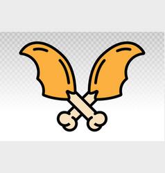 Chicken drumstick thighs flat icon vector