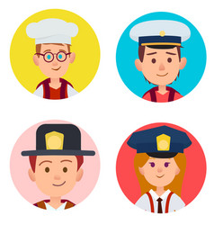 Children portraits of adult occupations four icons vector