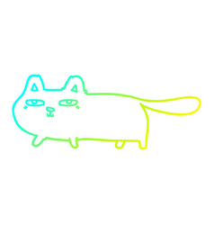 Cold gradient line drawing cartoon sly cat vector