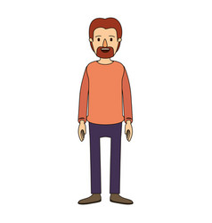 Color image caricature full body male person with vector