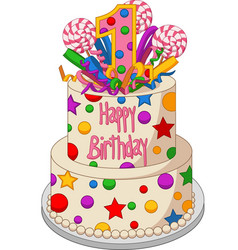 colorful birthday cake on a white background vector image