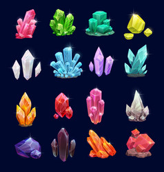 crystal gems gemstone icons vector image