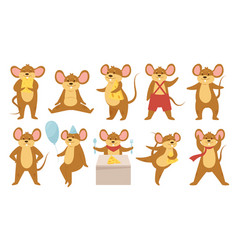 Cute mouse animals set funny mouse or rat eat vector