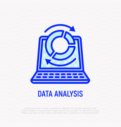 data analysis laptop and diagram with arrows vector image