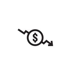 dollar decrease icon money symbol with arrow vector image