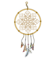 dream catcher with colored feathers vector image