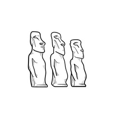 easter island statues hand drawn outline doodle vector image