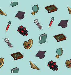 Education flat outline isometric pattern vector