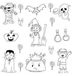 Elemenet costume halloween in doodle vector