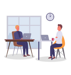 employees in office at tables using devices vector image