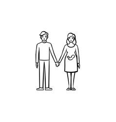 family couple expecting a baby hand drawn outline vector image
