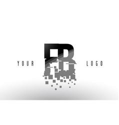 Fb f b pixel letter logo with digital shattered vector
