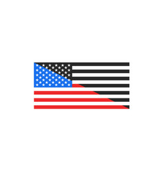 flag usa color and black and white halved vector image