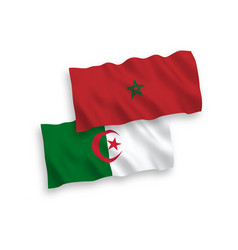 Flags morocco and algeria on a white background vector