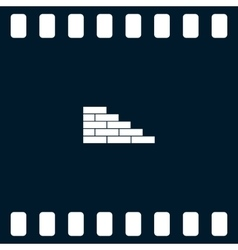 flat paper cut style icon brickwork fragment vector image