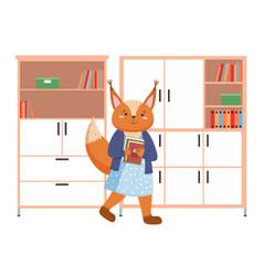 Funny cartoon animal student a squirrel vector