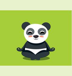 Funny cartoon yoga panda meditating in lotus pose vector