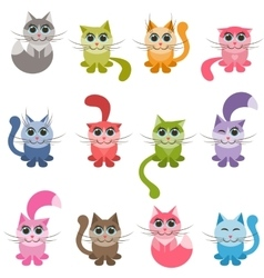 Funny colorful cats vector