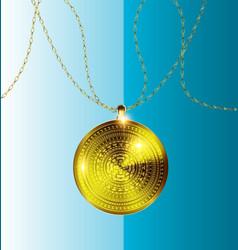Gold pendant medal vector