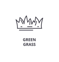 Green grass line icon outline sign linear symbol vector