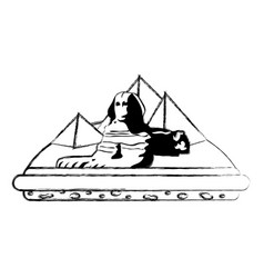 Grunge giza egypt sculpture architecture pyramids vector