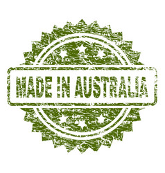 Grunge textured made in australia stamp seal vector
