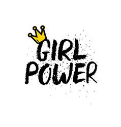 hand drawn lettering girl power feminist slogan vector image
