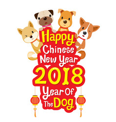 Happy chinese new year 2018 texts with dogs vector