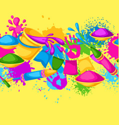 Happy holi colorful seamless border vector