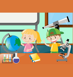 happy students learning in classroom vector image