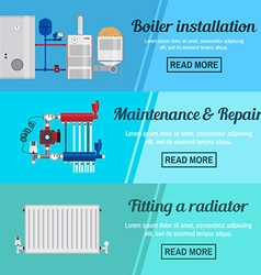 Horizontal banner set with boiler Installation vector