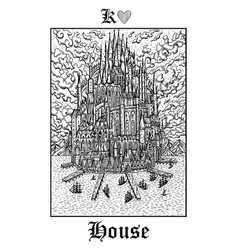 house castle tarot card from lenormand gothic vector image