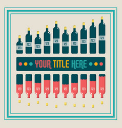 infographics elements wine bottle bar chart vector image