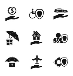Insurance icons set simple style vector