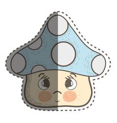 Kawaii fangus sad with cheeks and eyes vector