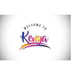 kenya welcome to message in purple vibrant modern vector image