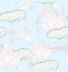 Koi carp fish and water lily seamless pattern vector
