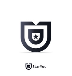 letter u logo design template with star sign vector image