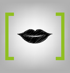 Lips sign black scribble vector