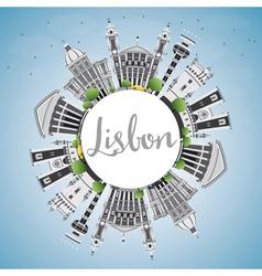 Lisbon Skyline with Gray Buildings Blue Sky vector image